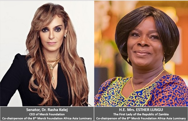 Senator, Dr. Rasha Kelej, CEO of Merck Foundation & Co-chairperson of the 8th Merck Foundation Africa Asia Luminary and H.E. Mrs. ESTHER LUNGU, The First Lady of the Republic of Zambia & Co-chairperson of the 8th Merck Foundation Africa Asia Luminary