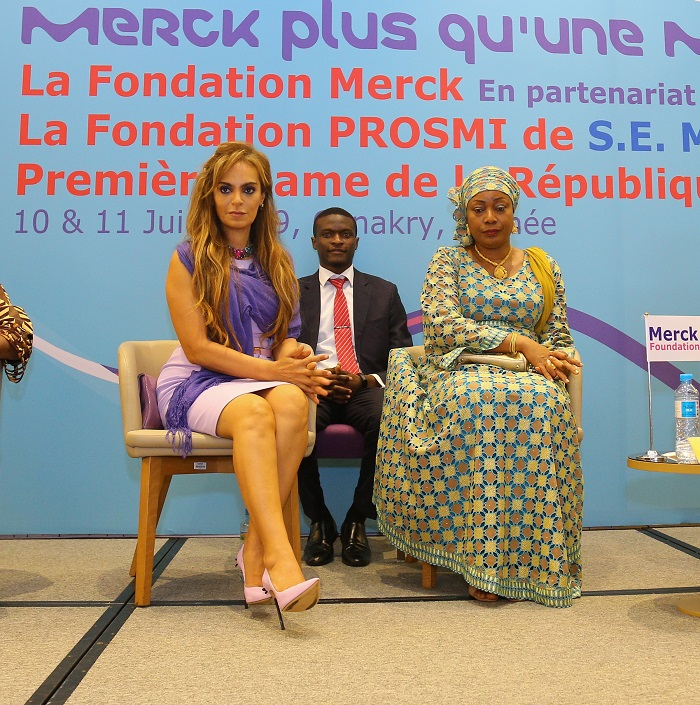Dr. Rasha Kelej, CEO of Merck Foundation and President, Merck More Than a Mother with The First Lady of Guinea, H.E. DJENE CONDÉ during the launch of Merck Foundation activities in Guinea