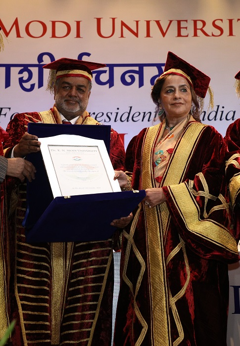 Ms. Bina Modi, Director Godfrey Philips India conferred with Ph.D., Honoris Causa by Dr. K.N. Modi University