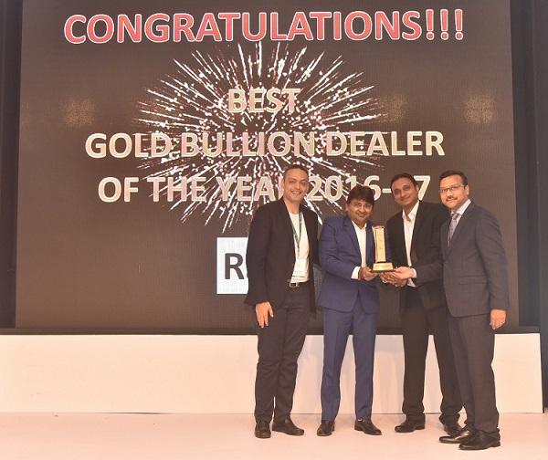 Second from Left - Mr. Mukesh Kothari, Director of RSBL receiving award on behalf of Mr. Prithviraj Kothari at The 14th India International Gold Convention (IIGC) 2017