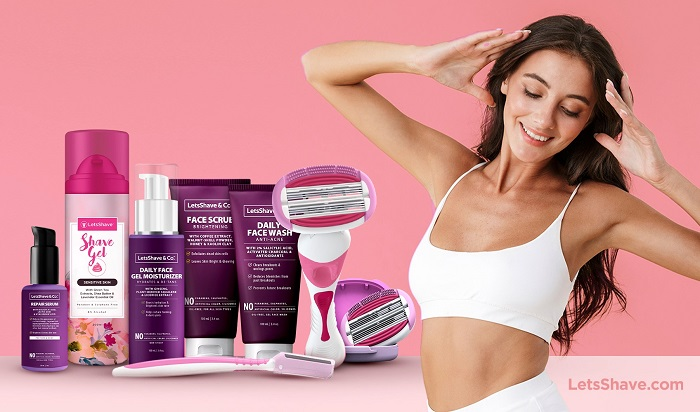 LetsShave Evior Face Razor with women's shaving and body care range of products