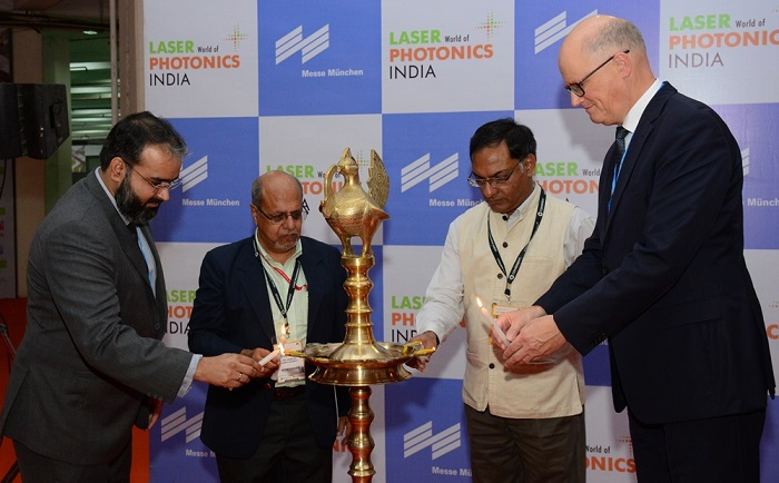 (L-R): Mr. Bhupinder Singh, CEO of Messe Muenchen India; Mr. Bishu Pal, Professor, Bennett University; Prof. Ashutosh Sharma, Secretary ? Department of Science & Technology (Govt. of India) and Dr. Martin Lechner, Business Head ? Messe Muenchen GmbH at the inaugural of LASER World of PHOTONICS INDIA 2017 in New Delhi