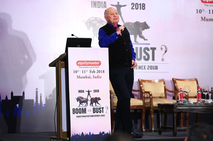 Dr. Marc Faber speaking at The Equitymaster Conference 2018 in the Taj Mahal Palace Hotel, Mumbai