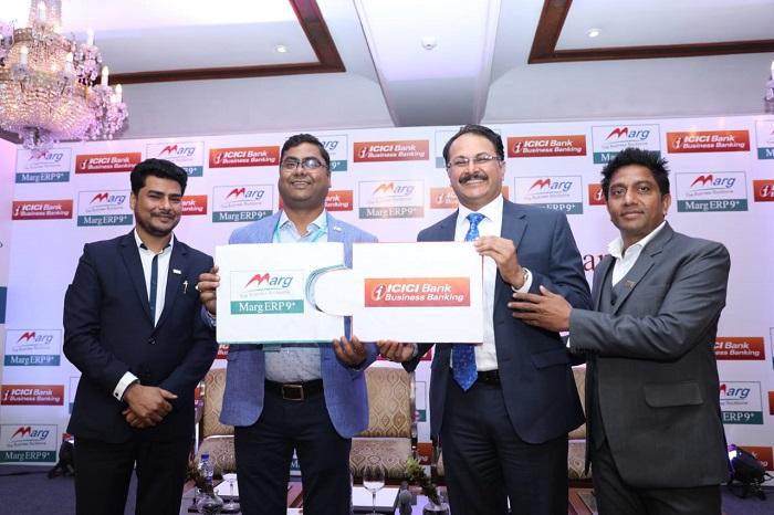 Left to Right: Mr. Sudhir Singh, Director sales and marketing, Marg ERP, Mr. Thakur Anoop Singh, CMD, Marg ERP, Mr. Pankaj Gangill, GM and National Head of self employed segment ICICI Bank, Mr Mahendra  Singh, MD, Marg ERP
