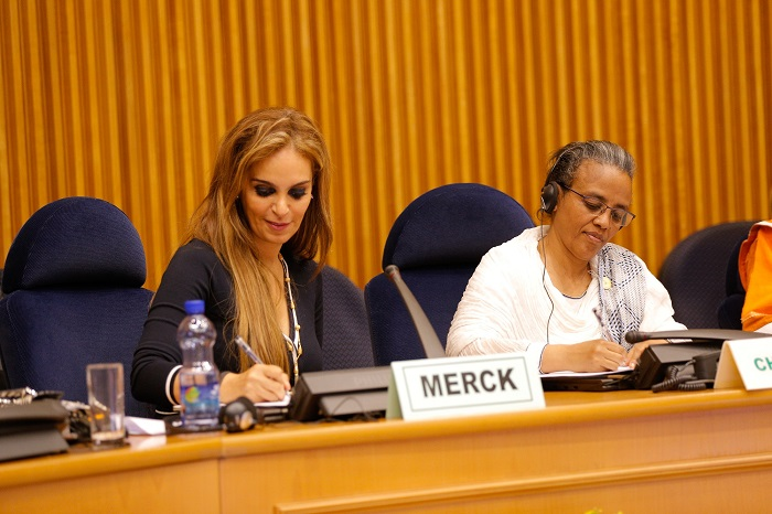 Dr. Rasha Kelej, CEO Merck Foundation with H.E. Madam Roman Tesfaye, the First Lady of the Federal Democratic Republic of Ethiopia and the Chairperson of African First Ladies Organization during the MoU signing event at The African Union Assembly, Ethiopia