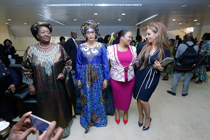 (L-R) H.E. Madam Sia Koroma, First Lady, Sierra Leone, H.E. First Lady of the Republic of The Gambia, Madame Fatoumattah Bah-Barrow and H.E. First Lady of Lesotho Madame Maesaiah Thabane and Dr. Rasha Kelej, CEO Merck Foundation