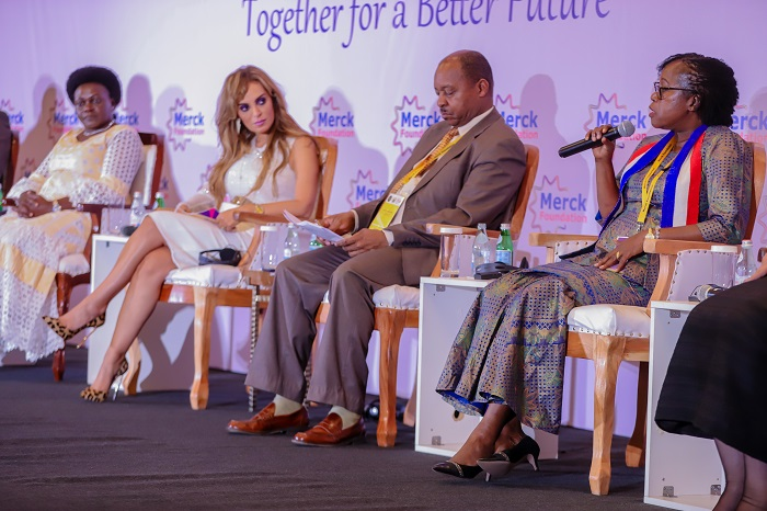 (L-R): Hon. Sarah Opendi, Minister of State for Mineral Dev (Former Health Minister), Republic of Uganda, Dr. Rasha Kelej, CEO of Merck Foundation, Co-Chairperson of Merck Africa Asia Luminary, Hon. Dr. Obadiah Moyo, Minister of Health and Child Care, Republic of Zimbabwe, Hon. Dr. Wilhemina S. Jallah, Minister of Health, Republic of Liberia during a High level Ministerial Panel at 6th Edition of Merck Africa Asia Luminary 2019 in Accra, Ghana