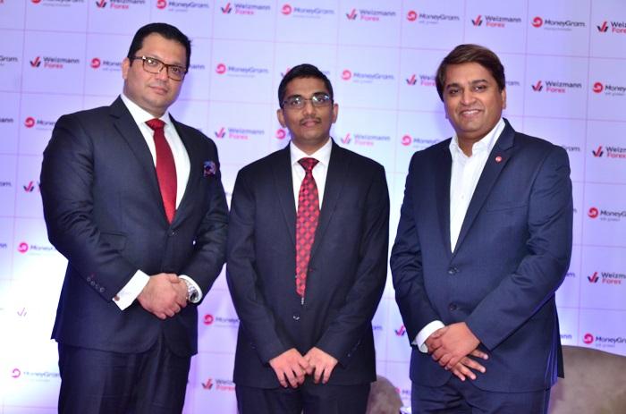 (L-R) MoneyGram announces a strategic partnership with Weizmann Forex Limited. Present at the event were Mr. Sheshagiri Mallaih, Head of India and Sub-Continent, MoneyGram, Mr. Karthikeyan Balasubramanian, Managing Director, Weizmann Forex & Mr. Yogesh Sangle, Head of Asia Pacific, Middle East and South Asia, MoneyGram