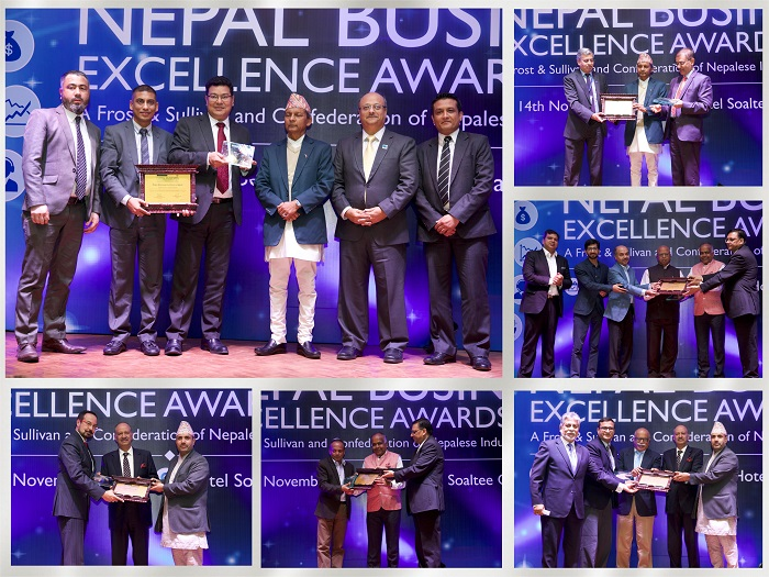 Award recipients at Frost & Sullivan and Confederation of Nepalese Industries'