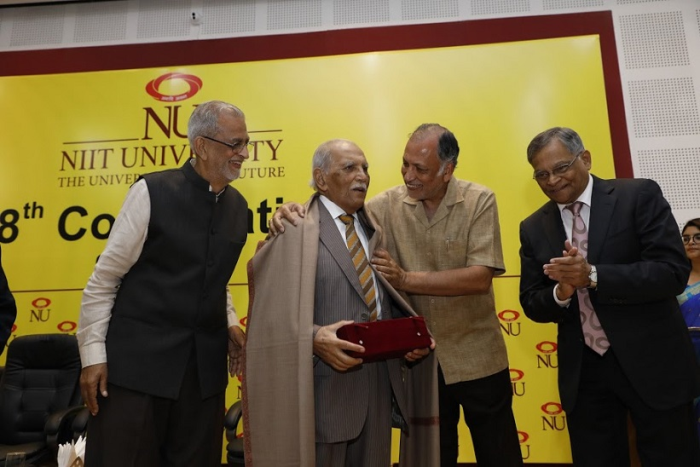 NIIT University (NU) awards its first honorary doctorate to Shri F. C. Kohli during the 8th Convocation Ceremony