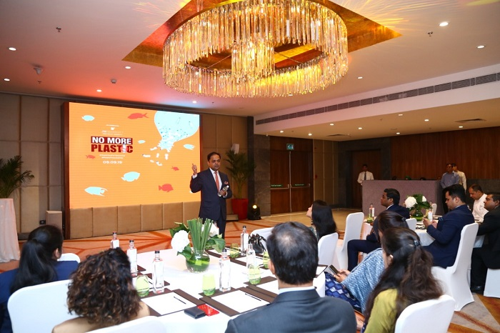 Nitesh Gandhi, General Manager, JW Marriott New Delhi talking about the Plastic free Journey of the hotel