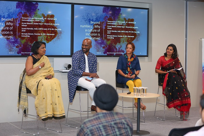 L to R - Nirmala Menon - Founder & CEO, Suresh Ramdas - India LGBTQ Lead, HP & Mr. gay India 2019, Aruna Newton - Global Head – Diversity & Inclusion, Infosys, Shreya Krishnan - Marketing & Communication, Anviti as part of the panel discussion on 'Interweave Consulting, Beyond numbers : Why a culture of Inclusion is imperative!'