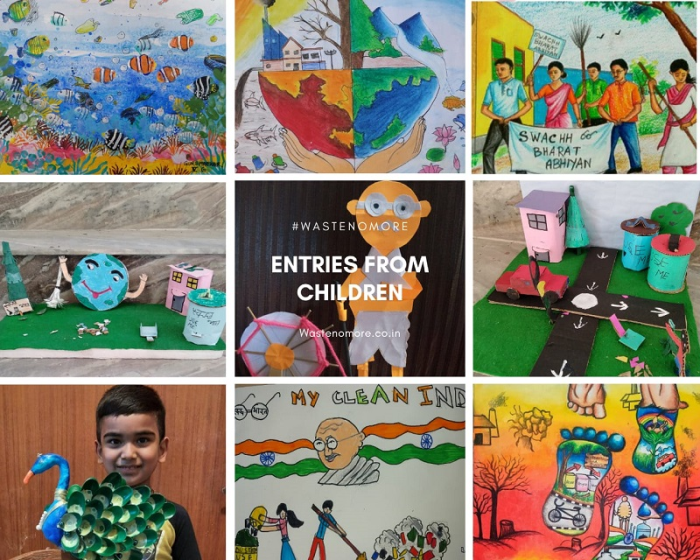 Entries from students for the painting competition as part of the 'Waste No More' initiative