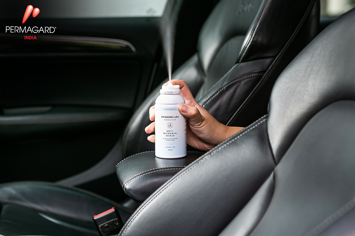 Permagard's Antimicrobial Shield in action in a car, it kills 99.99% viruses instantly & is effective up to 12 months. Usable in cars, offices & homes.