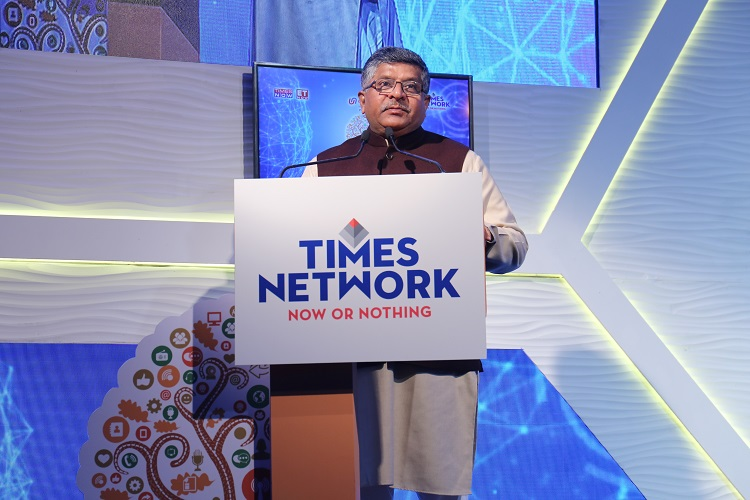Union Minister for Law & Justice and Electronics & Information Technology, Shri Ravi Shankar Prasad speaking at Digital India Summit and Awards 4.0