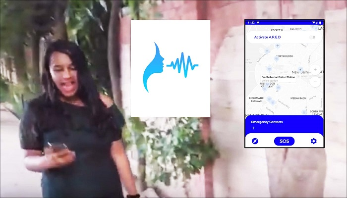 Rakshak Women's Safety App: The mobile phone app analyses speech patterns, detects panic and triggers an SOS message. (Simulated situation with actor)