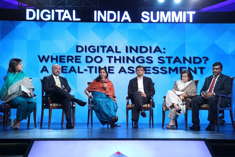Supriya Srinate, Executive Editor News, ET NOW; Mr. Karan Bajwa, MD, IBM India; Ms. Aruna Sundararajan, Secretary, DoT; Mr Sri Rajan, Chairman, Bain & Co India, Ms. Debjani Ghosh, President Designate, Nasscom  and Mr. Rajkiran Rai, MD & CEO, Union Bank of India participating in a panel discussion  at Digital India Summit and Awards 4.0