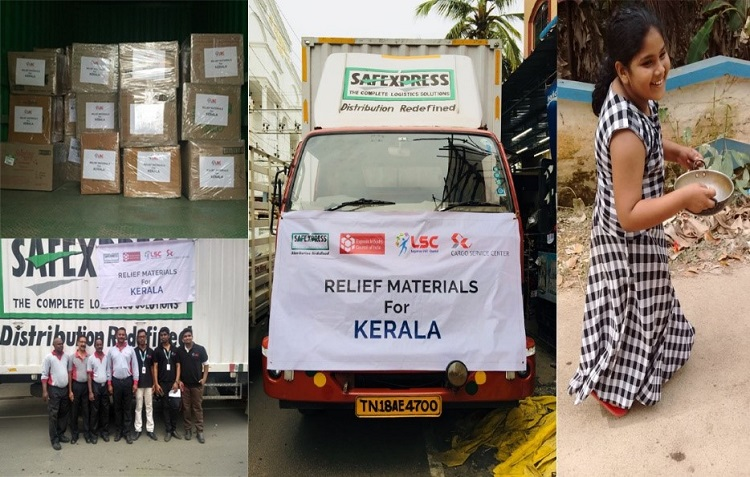 L & C- Relief materials packed and transported to Kerala.  R- Sandhiya walking towards her Anganwadi