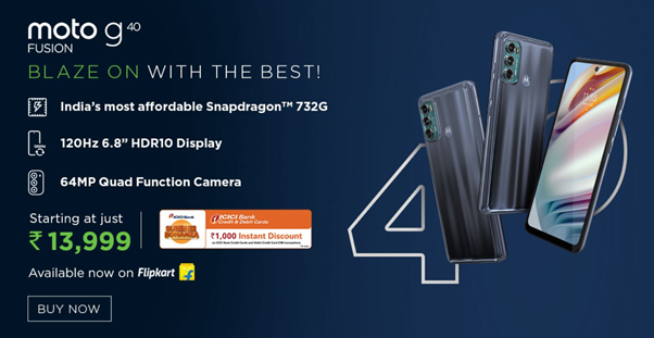 moto g40 fusion  goes on sale from May 1st, 12pm onwards on Flipkart at an incredible price of just Rs. 13,999 with exciting bank offers