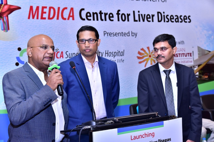 (L-R) Dr. Alok Roy, Chairman Medica Group of Hospitals along with Prof. Dr. Tom Cherian, founder of South Asian Liver Institute (SALi) and Dr. Pradeepta Kumar Seth, Director of Gastroenterology, Medica Superspecialty Hospital launched the Medica Centre for Liver Disease in Kolkata to bring liver disease treatment and liver transplantation in the eastern Region on par with the best in the world