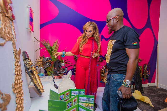 Dr. Rasha Kelej, CEO of Merck Foundation with Nana Kwabena Anoff, African Artist in Sustainable Art