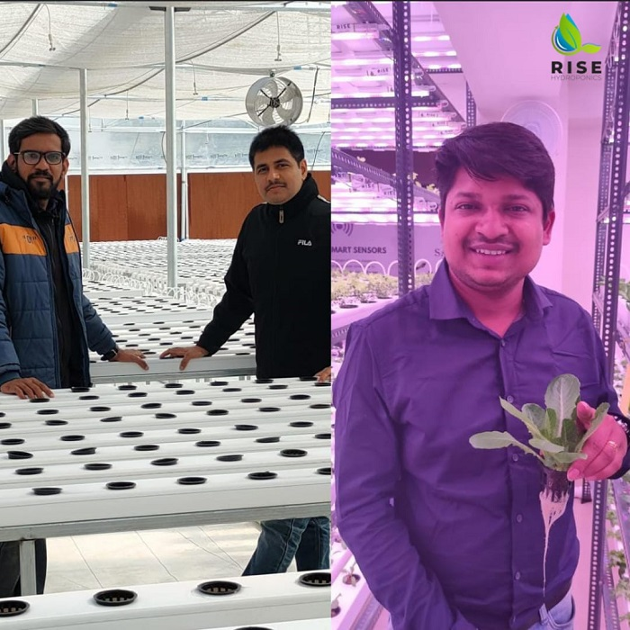 Founders of Rise Hydroponics - Meet Patel, Vivek Shukla & Tusshar Aggarwal at their Hydroponics Farm (Left to Right).