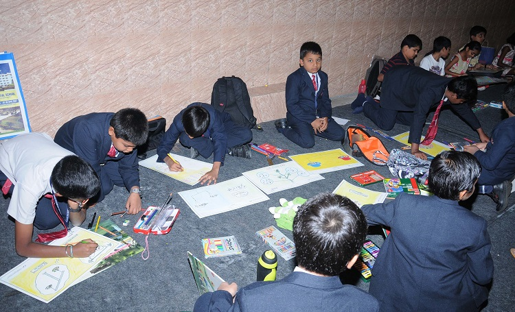 School students participating in the art competition
