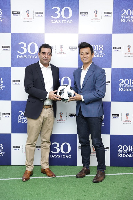 (L to R) Rajesh Kaul, President, Sports & Distribution, Sony Pictures Networks India and Bhaichung Bhutia, with the official match ball replica