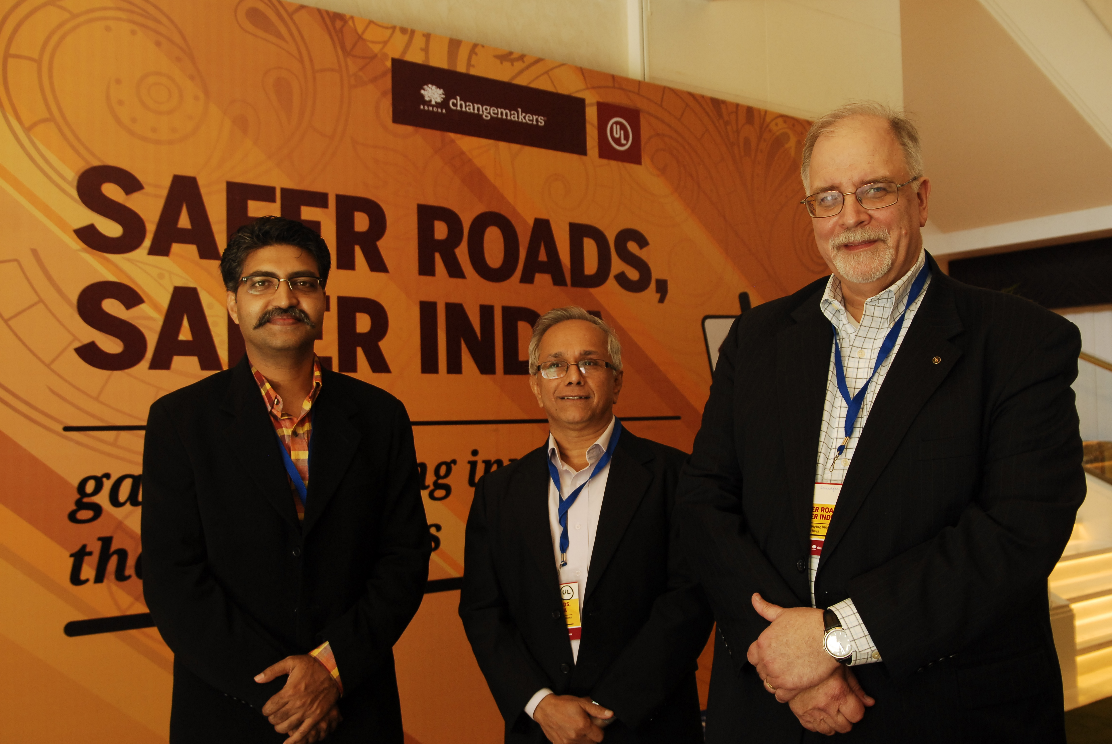 """(From L-R) Mr. Sunish Jauhari, Institutional strategist, Ashoka, R.A. Venkitachalam, VP, Public Safety Mission, UL and Gus Schaeffer, SVP, Public Safety Mission, UL at the launch of """" Safer Roads, Safer India Nationwide Campaign"""" led by UL and Ashoka Foundation in Bangalore."""