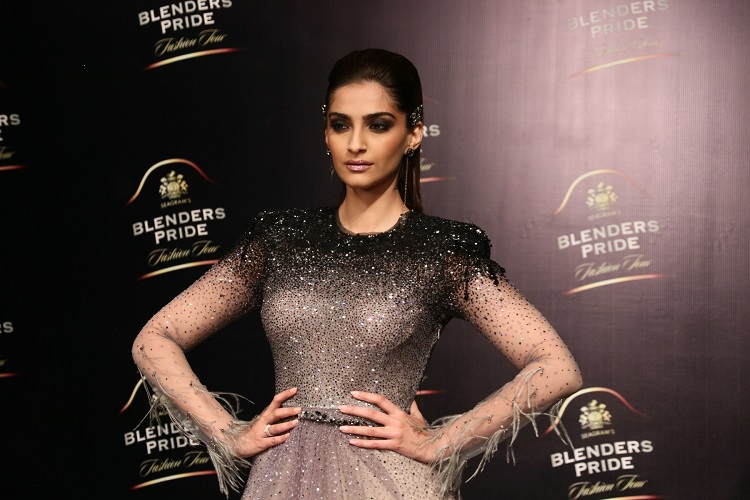 Showstopper Sonam Kapoor in a Tarun Tahiliani outfit at Blenders Pride Fashion Tour 2017, Mumbai