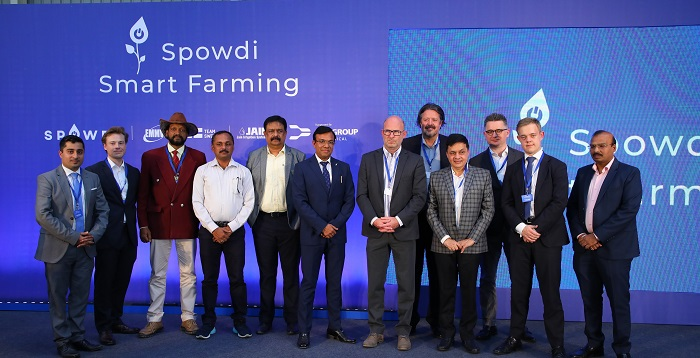Mr. Rajender Kumar Kataria, IAS, Secretary Agriculture, horticulture and sericulture, Govt. of Karnataka, Mr. Henrik Johansson – CEO for Spowdi AB; Mr. Anders Andersson, CMO SPOWDI, Mr. Anil Kumar Kataria - Sr. Vice President, Jain Irrigation, Mr. Gabor Papp - SHL Medical Taiwan, Mr. Viggo Barmen - Second Secretary, Embassy of Sweden, Mr. Manjunatha DV - Founder and Managing Director, EMMVEE Solar Systems