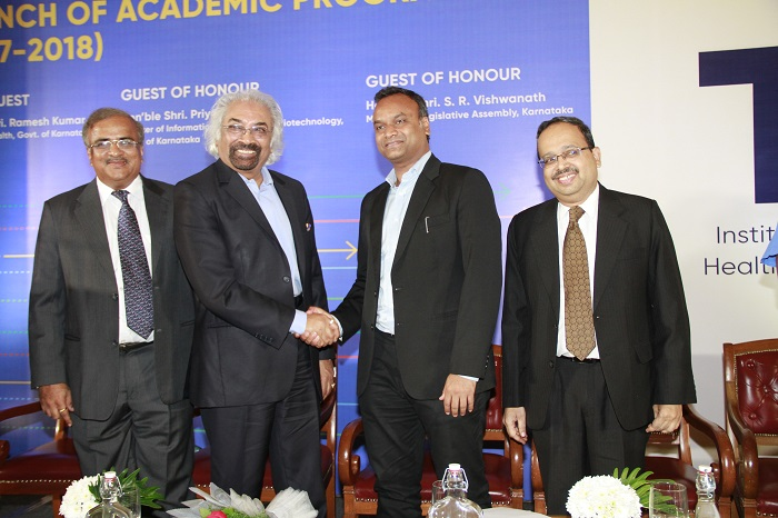 "<b>(L to R): Sunder Raju (MD, Atria Convergence Technologies), Dr. Sam Pitroda (Co-Founder, TDU), IT/BT minister Priyank Kharge, Dr. Balakrishna Pisupati (Vice-chancellor, TDU)</b>""></td> </tr> <tr> <td width="