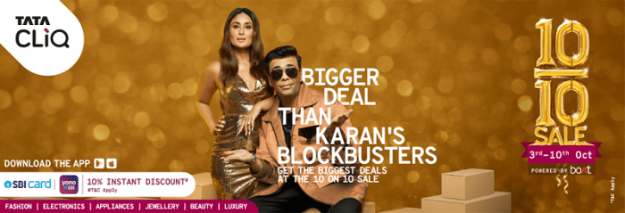 Tata CLiQ?s 10 on 10 Sale Campaign features Kareena Kapoor Khan and Karan Johar