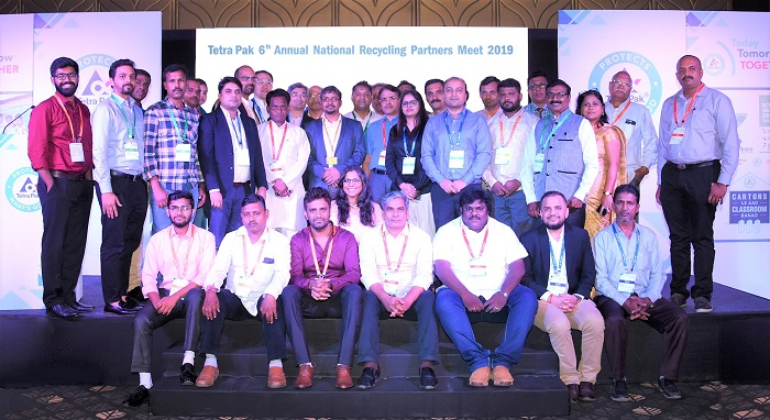 Representatives from Tetra Pak's collection, recycling and NGO partner organizations with Shri Amardeep Raju – Assistant Director, Ministry of Environment, Forest and Climate Change