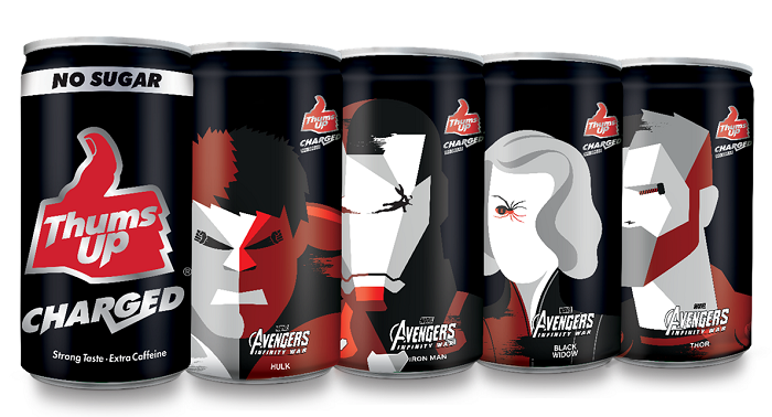 The Thums Up Charged No Sugar packs featuring four Marvel Avengers Super Heroes - Thor, Iron Man, Hulk and Black Widow