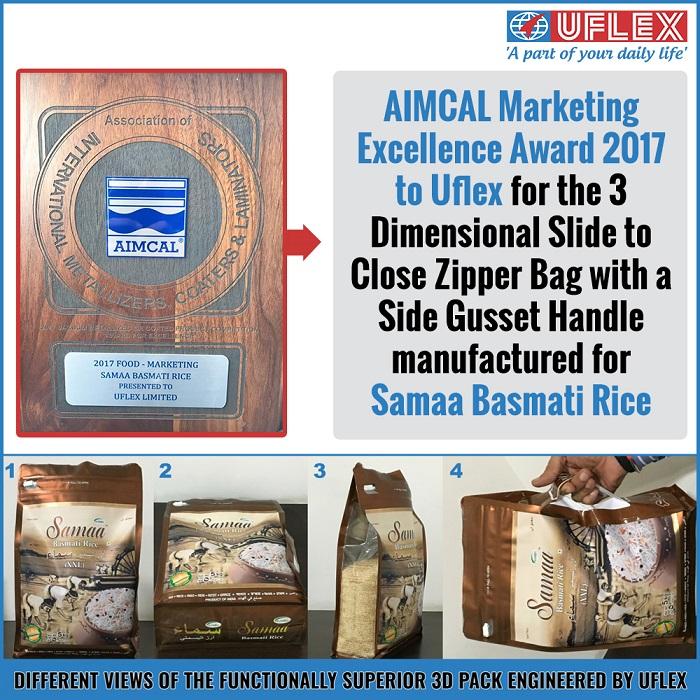 <b>AIMCAL Marketing Excellence Award 2017 to Uflex</b>&#8220;></td> </tr> <tr> <td width=