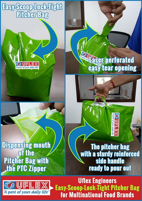 Uflex engineers Easy-Scoop-Lock-Tight Pitcher Bag for Multinational Food Brands