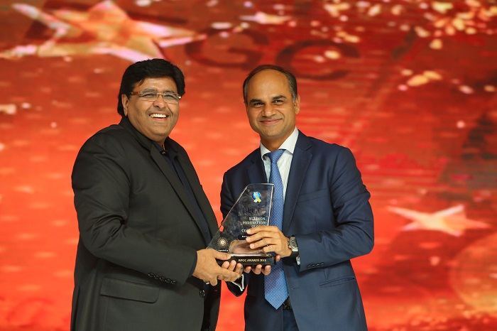 Mr. Prithviraj Kothari, MD, RSBL receiving an award
