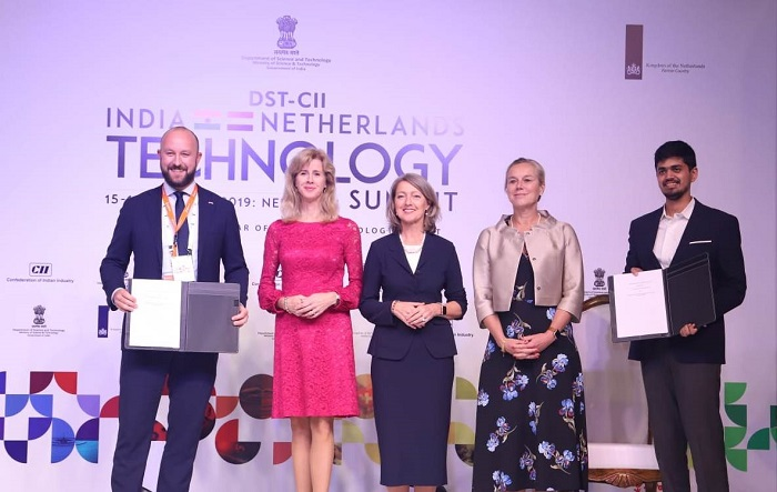 (L-R) Berend Buningh, the Head of Business Development, INCO; Mona Keizer, The State Secretary for Economic Affairs & Climate Policy (Netherlands) ,  Sigrid Kaag- The Minister for Foreign Trade & Development (Netherlands), Hrishikesh Datar, Founder & CEO of Vakilsearch