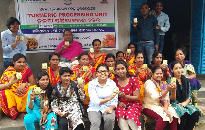 Women of Ma Manikeshwari SHG during the inauguration of turmeric processing machine in Pujharipada Lanjigarh Odisha