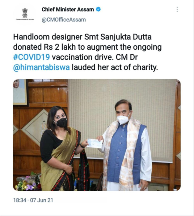 Fashion Designer Sanjukta Dutta contributes towards the vaccination drive held in Assam under the guidance of Honorable Chief Minister Dr. Hemanta Biswa Sarma.