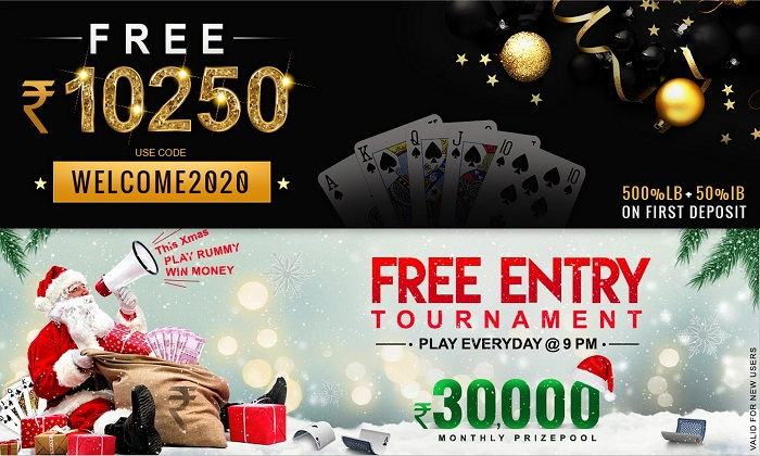 This X-mas and New Year Win Welcome2020 and Free Entry Tournament at Adda52 Rummy