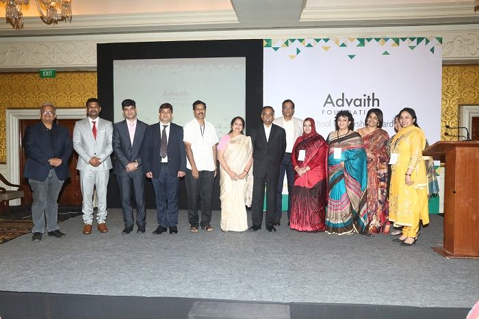 Winners of the Advaith Foundation School Leadership Awards with Mrs and Mr. S.D. Shibulal, Trustees of The Advaith Foundation