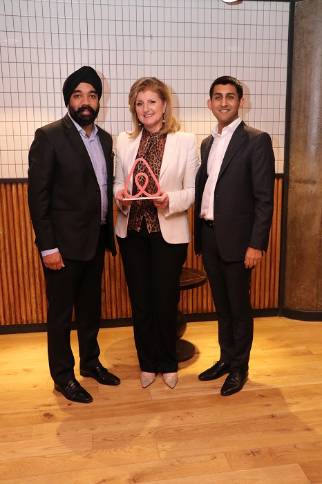 L-R - Amanpreet Bajaj Country Manager Airbnb India; Arianna Huffington Founder and CEO Thrive Global; Dr. Marcus Ranney General Manager Thrive Global - India