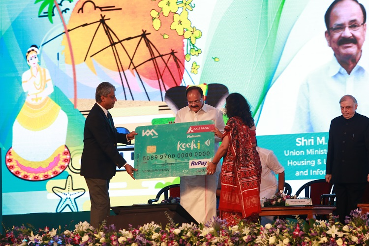 Shri Elias George, MD,KMRL, Shri Venkaiah Naidu, Union Minister (Urban Development )and Smt. Shikha Sharma, MD & CEO, Axis Bank (L-R) at the launch.