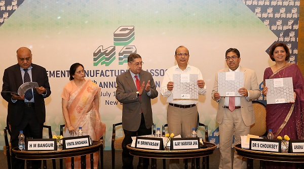 From Left to Right: H.M Bangur ? Past President, CMA; Vinita Singhania- Past President,  CMA; N Srinivasan ? Past President, CMA; Ajay Narayan Jha ? Secretary, Ministry of Environment, Forest and Climate Change; Dr. Shailendra Chouksey ? President, CMA and Aparna Dutt Sharma ? Secretary General, CMA releasing a fact book, Cementing the Future: Indian Cement Industry?s Journey to Excellence at the 55th Annual Session of CMA (Cement Manufacturers Association)