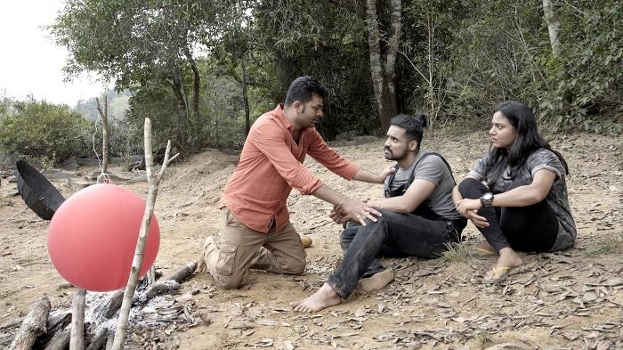 Lead actors - Dileep Kumar, Anusha Rao and Aaryan in Manaroopa a psychological thriller movie in Kannada language