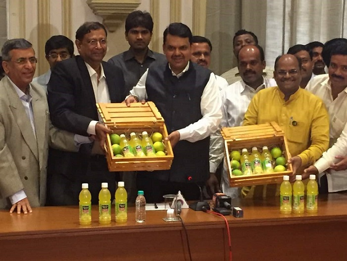 L-R- Mr. Ashok Jain, Chairman, Jain Irrigation, Mr. T. Krishnakumar, President, Coca-Cola India and Southwest Asia and Mr. Devendra Fadnavis, CM, Maharashtra