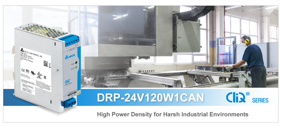 Delta DRP-24V120W1CAN, DIN Rail Power Supply for Harsh Industrial Environments