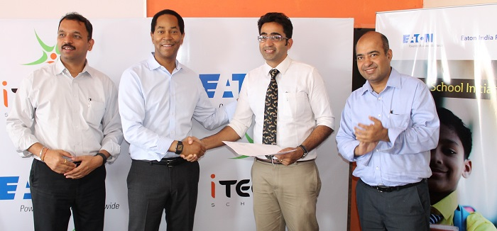 Eaton announces collaboration with iTeach Schools to support English medium secondary school education among students from economically challenged backgrounds. (L to R) Nitin Chalke, Eaton?s Managing Director for India, Craig Arnold, Eaton?s Global Chairman & CEO, Soumya Jain, Founder & CEO at iTeach & Ashish Kapoor, Director, HR, India, Eaton were present at the event.